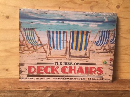 Deck Chair Hire ~ Retro Coastal Wooden Sign Wall Art